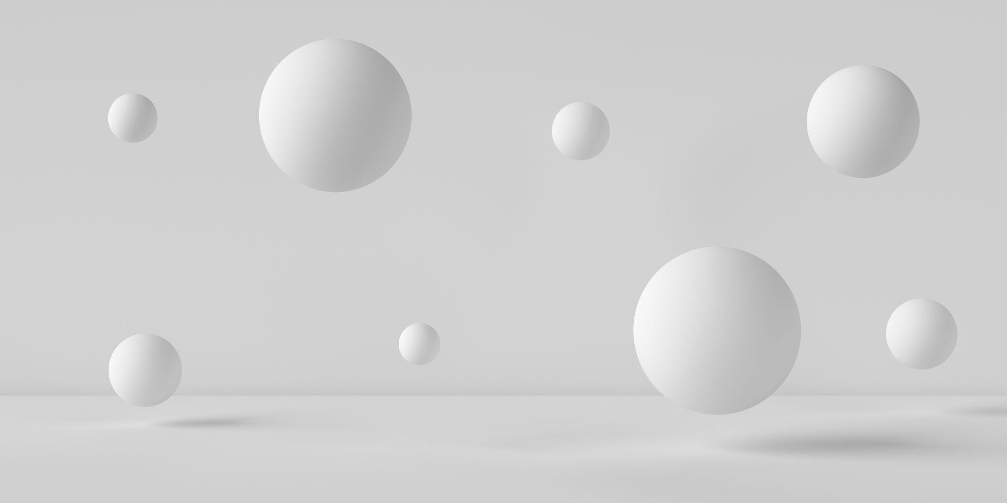 Image de sphères 3D blanches de formes différentes